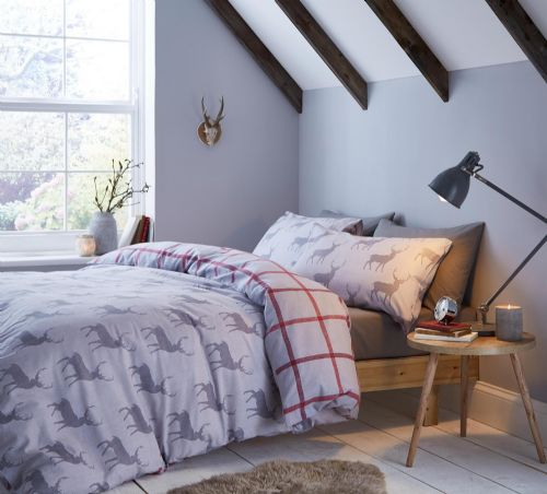 Catherine Lansfield Brushed Stag Grey Bedding Set